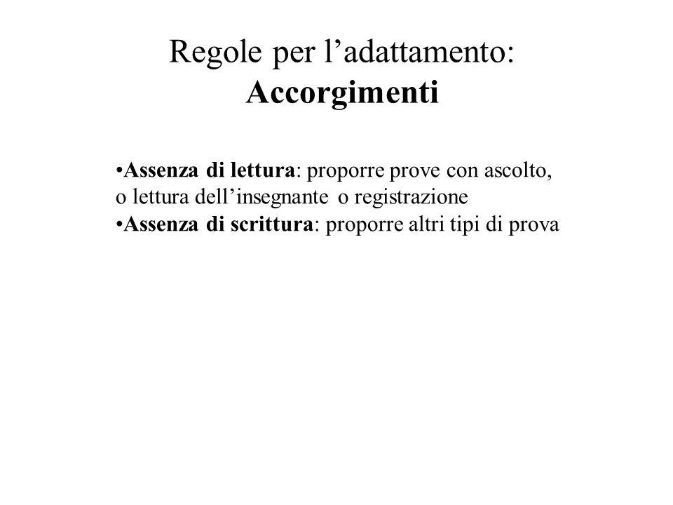 Regole per ladattamento: Accorgimenti Assenza di lettura: proporre prove con ascolto, o lettura dellinsegnante o registrazione Assenza di scrittura: p