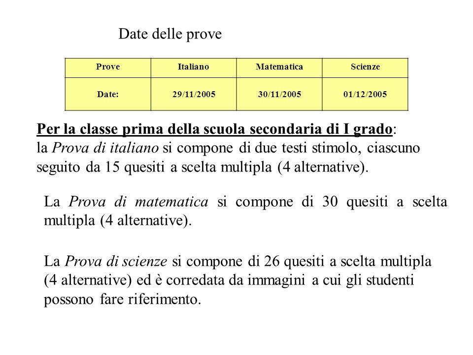 ProveItalianoMatematicaScienze Date:29/11/200530/11/200501/12/2005 Date delle prove Per la classe prima della scuola secondaria di I grado: la Prova di italiano si compone di due testi stimolo, ciascuno seguito da 15 quesiti a scelta multipla (4 alternative).