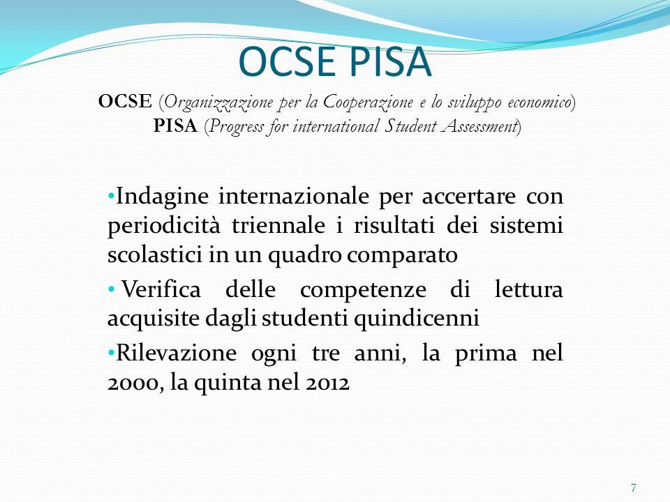 OCSE PISA OCSE (Organizzazione per la Cooperazione e lo sviluppo economico) PISA (Progress for international Student Assessment) Indagine internazionale per accertare con periodicità triennale i risultati dei sistemi scolastici in un quadro comparato Verifica delle competenze di lettura acquisite dagli studenti quindicenni Rilevazione ogni tre anni, la prima nel 2000, la quinta nel 2012 7