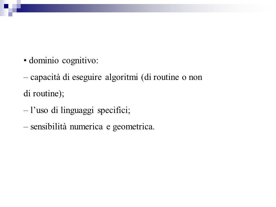 dominio cognitivo: – capacità di eseguire algoritmi (di routine o non di routine); – luso di linguaggi specifici; – sensibilità numerica e geometrica.