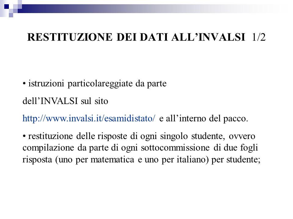 RESTITUZIONE DEI DATI ALLINVALSI 1/2 istruzioni particolareggiate da parte dellINVALSI sul sito http://www.invalsi.it/esamidistato/ e allinterno del pacco.