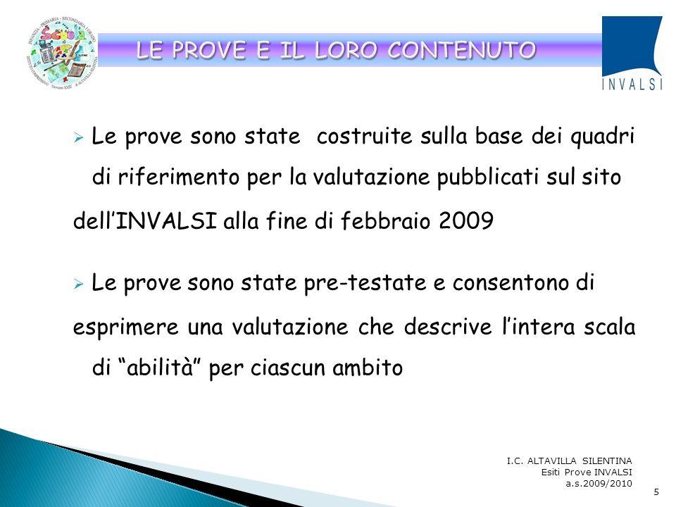 La rilevazione è avvenuta nei seguenti giorni: 6 maggio 2010: prova di italiano nella II e V primaria 11 maggio 2010: prova di matematica nella II e V