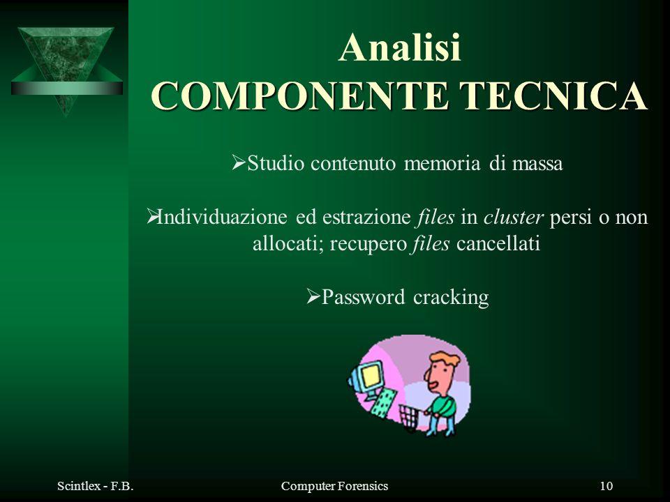 Scintlex - F.B.Computer Forensics10 COMPONENTE TECNICA Analisi COMPONENTE TECNICA Studio contenuto memoria di massa Individuazione ed estrazione files