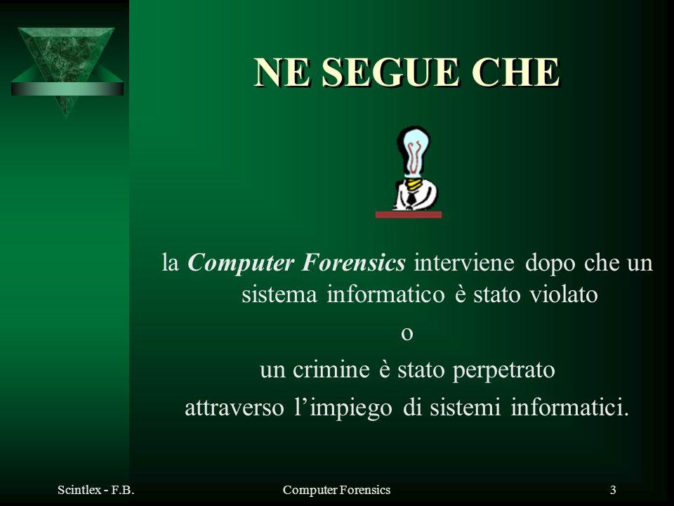 Scintlex - F.B.Computer Forensics3 NE SEGUE CHE la Computer Forensics interviene dopo che un sistema informatico è stato violato o un crimine è stato