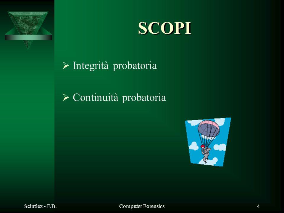 Scintlex - F.B.Computer Forensics4 SCOPI Integrità probatoria Continuità probatoria