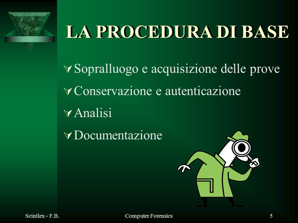Scintlex - F.B.Computer Forensics5 LA PROCEDURA DI BASE Sopralluogo e acquisizione delle prove Conservazione e autenticazione Analisi Documentazione