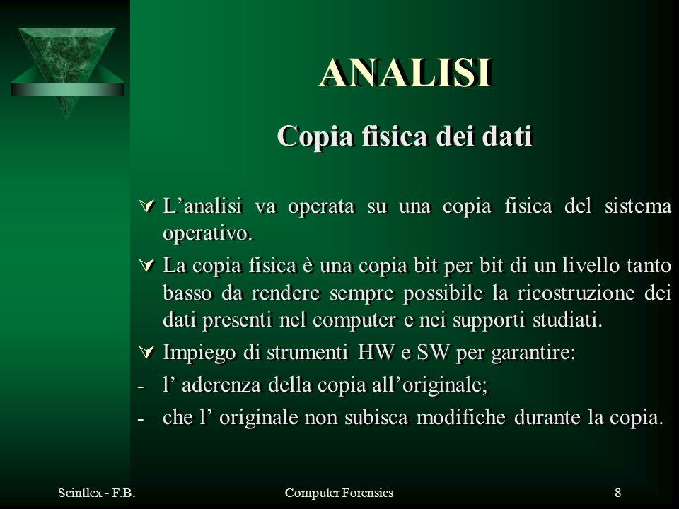Scintlex - F.B.Computer Forensics8 ANALISI Copia fisica dei dati Lanalisi va operata su una copia fisica del sistema operativo. La copia fisica è una