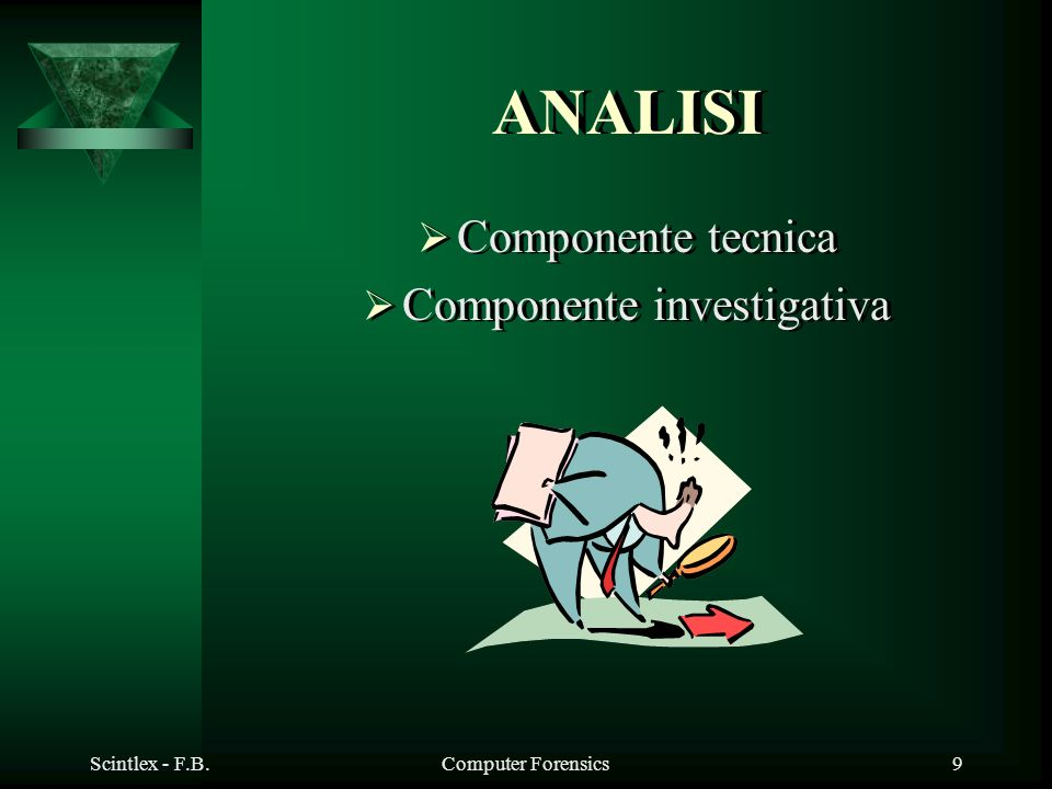 Scintlex - F.B.Computer Forensics9 ANALISI Componente tecnica Componente investigativa Componente tecnica Componente investigativa