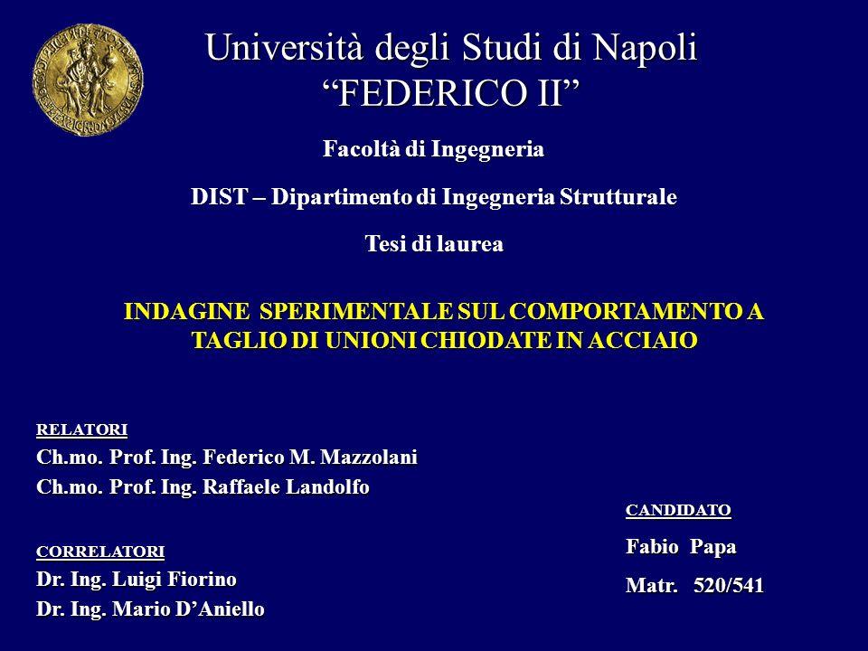 Università degli Studi di Napoli FEDERICO II DIST – Dipartimento di Ingegneria Strutturale INDAGINE SPERIMENTALE SUL COMPORTAMENTO A TAGLIO DI UNIONI