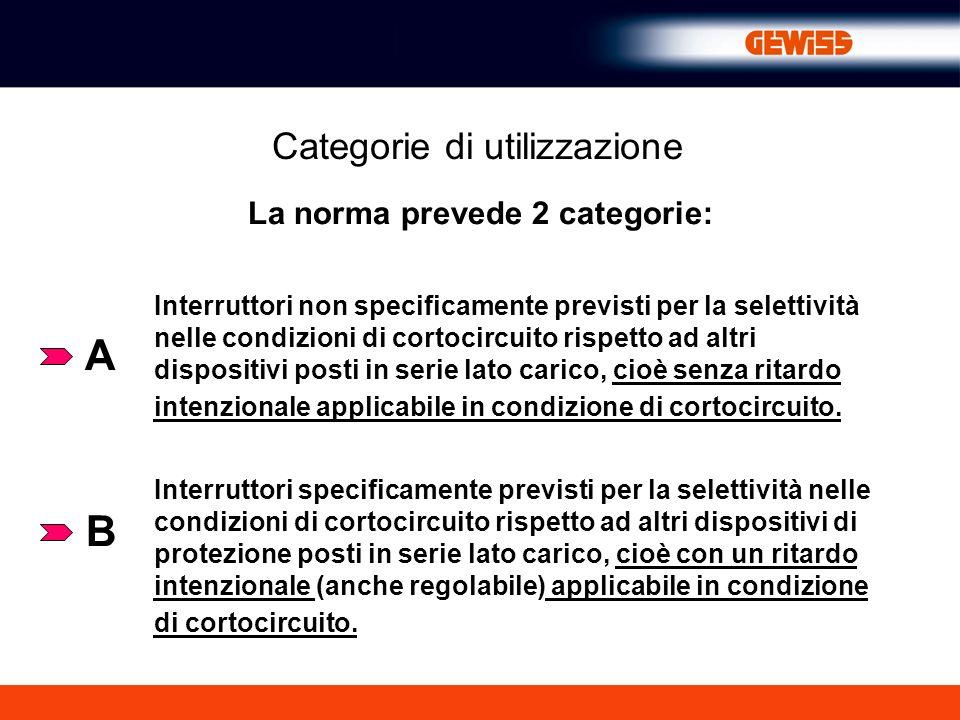 Categorie di utilizzazione La norma prevede 2 categorie: A B Interruttori non specificamente previsti per la selettività nelle condizioni di cortocirc