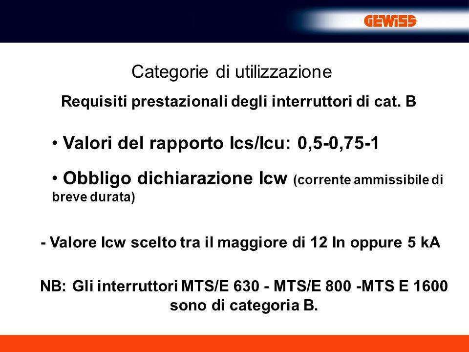 Categorie di utilizzazione Requisiti prestazionali degli interruttori di cat. B Valori del rapporto Ics/Icu: 0,5-0,75-1 Obbligo dichiarazione Icw (cor