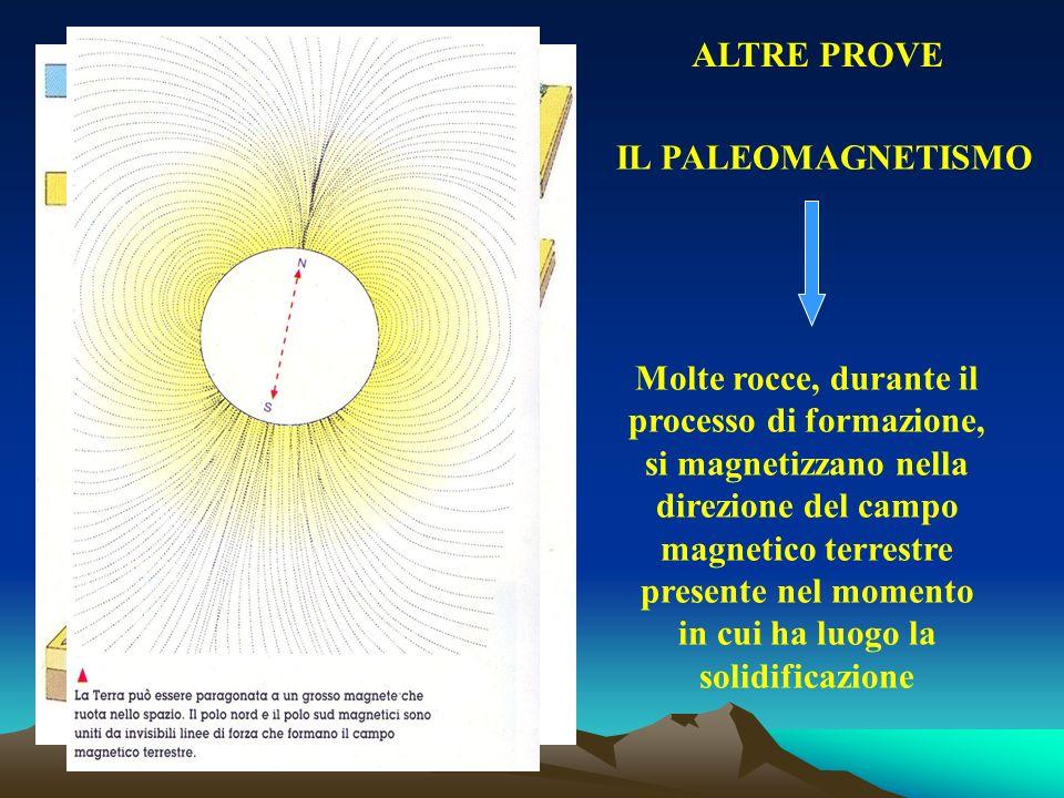 IL PALEOMAGNETISMO Molte rocce, durante il processo di formazione, si magnetizzano nella direzione del campo magnetico terrestre presente nel momento