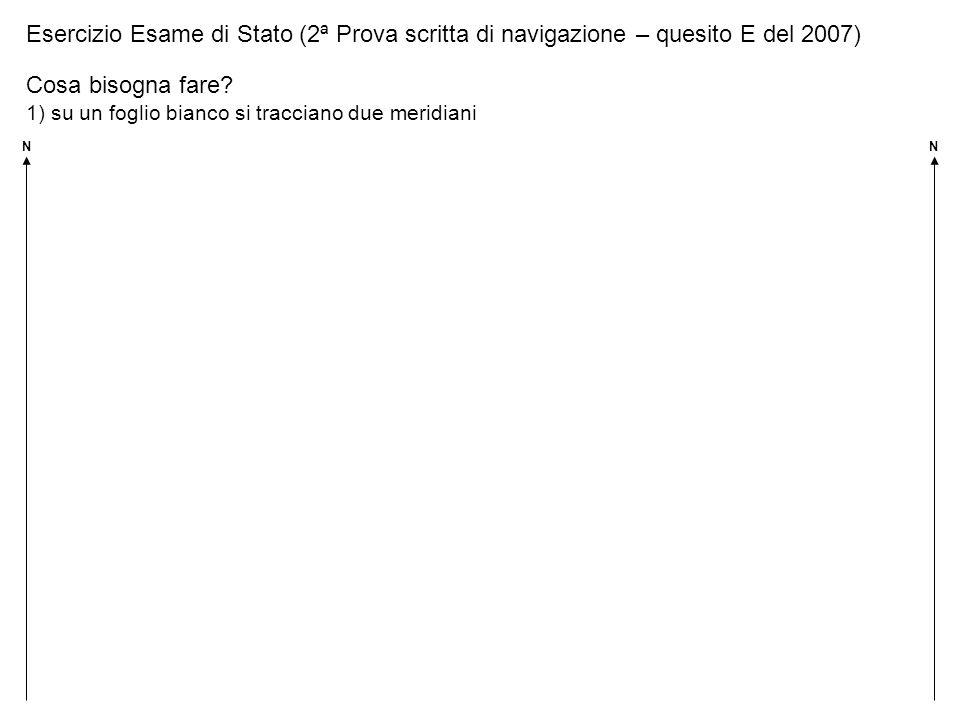 Esercizio Esame di Stato (2ª Prova scritta di navigazione – quesito E del 2007) Cosa bisogna fare? 1) su un foglio bianco si tracciano due meridiani N