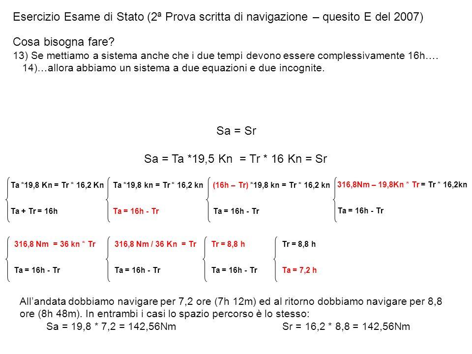 Esercizio Esame di Stato (2ª Prova scritta di navigazione – quesito E del 2007) Cosa bisogna fare? 13) Se mettiamo a sistema anche che i due tempi dev