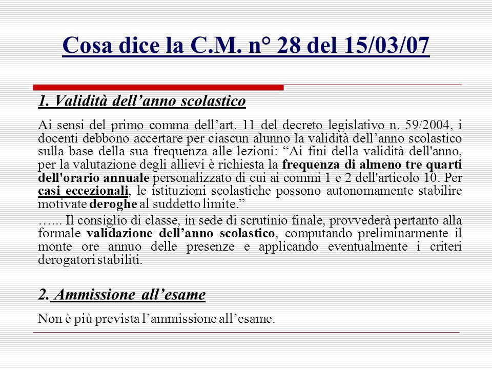 Cosa dice la C.M. n° 28 del 15/03/07 1. Validità dellanno scolastico Ai sensi del primo comma dellart. 11 del decreto legislativo n. 59/2004, i docent