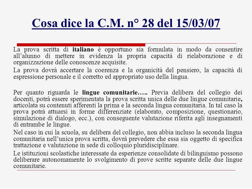 Cosa dice la C.M. n° 28 del 15/03/07 La prova scritta di italiano è opportuno sia formulata in modo da consentire allalunno di mettere in evidenza la