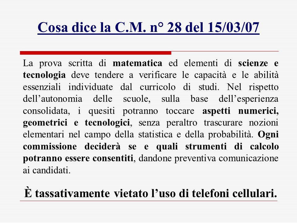 Cosa dice la C.M. n° 28 del 15/03/07 La prova scritta di matematica ed elementi di scienze e tecnologia deve tendere a verificare le capacità e le abi