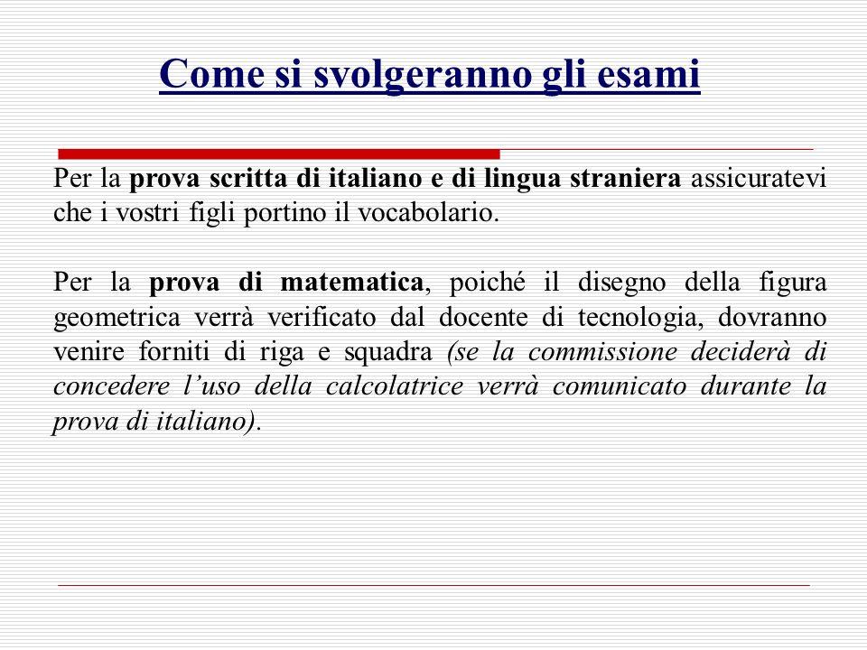 Come si svolgeranno gli esami Per la prova scritta di italiano e di lingua straniera assicuratevi che i vostri figli portino il vocabolario.