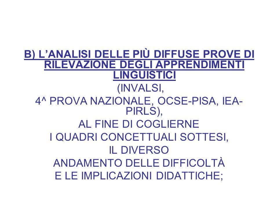 B) LANALISI DELLE PIÙ DIFFUSE PROVE DI RILEVAZIONE DEGLI APPRENDIMENTI LINGUISTICI (INVALSI, 4^ PROVA NAZIONALE, OCSE-PISA, IEA- PIRLS), AL FINE DI COGLIERNE I QUADRI CONCETTUALI SOTTESI, IL DIVERSO ANDAMENTO DELLE DIFFICOLTÀ E LE IMPLICAZIONI DIDATTICHE;