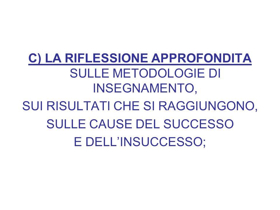 C) LA RIFLESSIONE APPROFONDITA SULLE METODOLOGIE DI INSEGNAMENTO, SUI RISULTATI CHE SI RAGGIUNGONO, SULLE CAUSE DEL SUCCESSO E DELLINSUCCESSO;