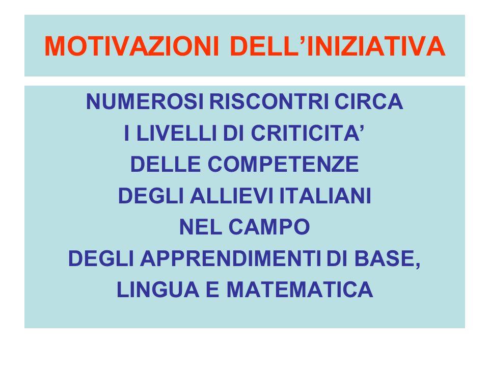 MOTIVAZIONI DELLINIZIATIVA NUMEROSI RISCONTRI CIRCA I LIVELLI DI CRITICITA DELLE COMPETENZE DEGLI ALLIEVI ITALIANI NEL CAMPO DEGLI APPRENDIMENTI DI BASE, LINGUA E MATEMATICA