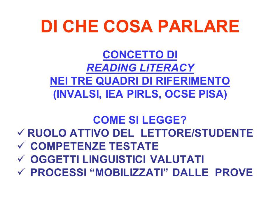 DI CHE COSA PARLARE CONCETTO DI READING LITERACY NEI TRE QUADRI DI RIFERIMENTO (INVALSI, IEA PIRLS, OCSE PISA) COME SI LEGGE.