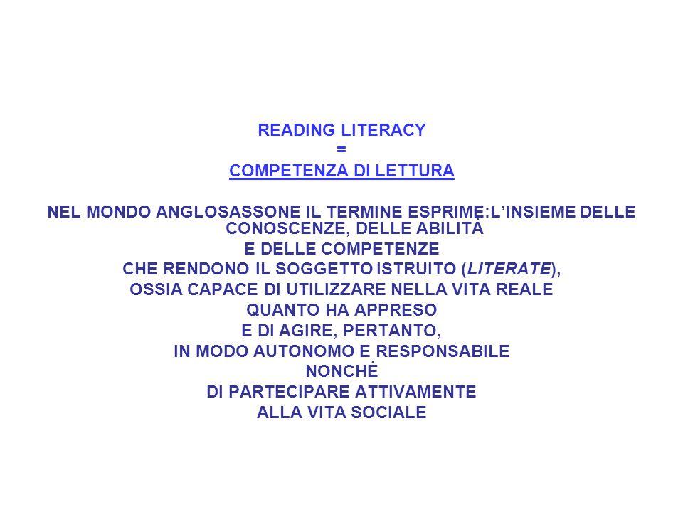 READING LITERACY = COMPETENZA DI LETTURA NEL MONDO ANGLOSASSONE IL TERMINE ESPRIME:LINSIEME DELLE CONOSCENZE, DELLE ABILITÀ E DELLE COMPETENZE CHE RENDONO IL SOGGETTO ISTRUITO (LITERATE), OSSIA CAPACE DI UTILIZZARE NELLA VITA REALE QUANTO HA APPRESO E DI AGIRE, PERTANTO, IN MODO AUTONOMO E RESPONSABILE NONCHÉ DI PARTECIPARE ATTIVAMENTE ALLA VITA SOCIALE