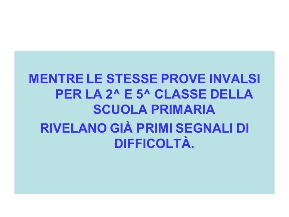 MENTRE LE STESSE PROVE INVALSI PER LA 2^ E 5^ CLASSE DELLA SCUOLA PRIMARIA RIVELANO GIÀ PRIMI SEGNALI DI DIFFICOLTÀ.