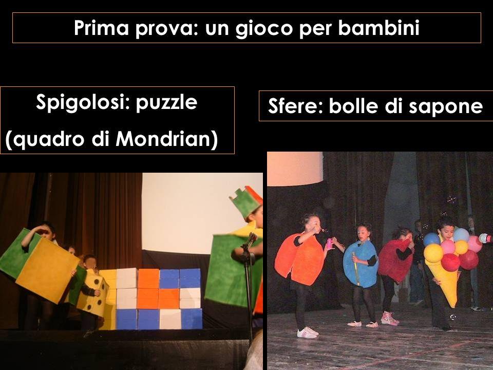 Prima prova: un gioco per bambini Sfere: bolle di sapone Spigolosi: puzzle (quadro di Mondrian)