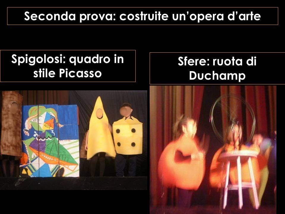 Seconda prova: costruite unopera darte Sfere: ruota di Duchamp Spigolosi: quadro in stile Picasso
