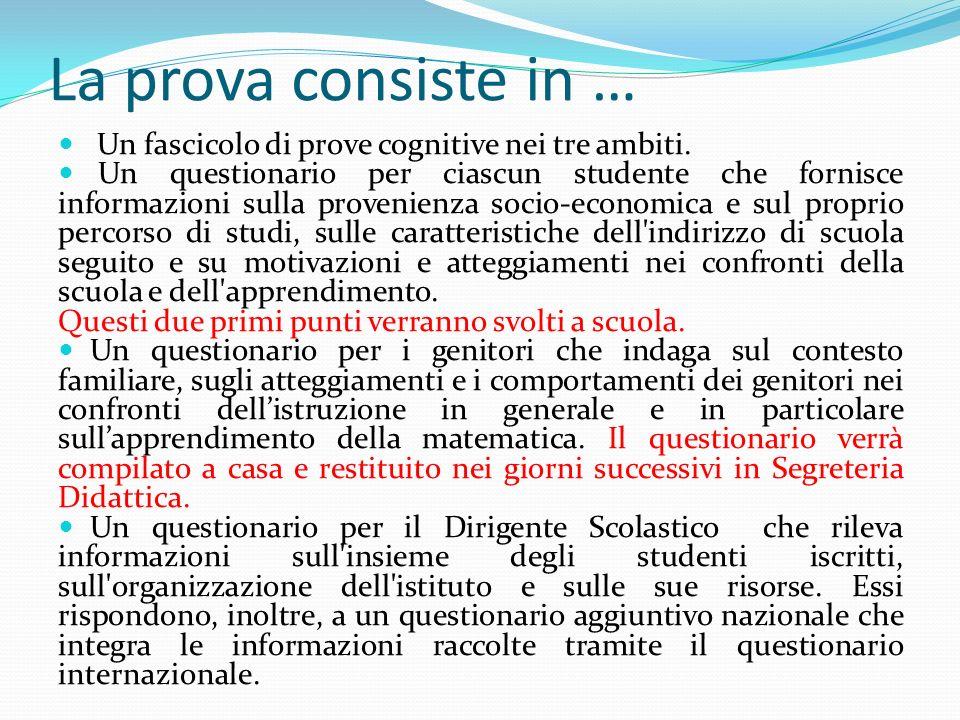 La prova consiste in … Un fascicolo di prove cognitive nei tre ambiti. Un questionario per ciascun studente che fornisce informazioni sulla provenienz