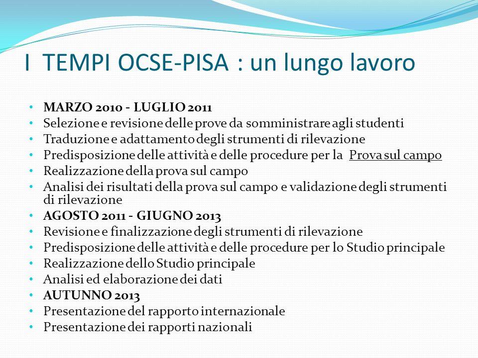 I TEMPI OCSE-PISA : un lungo lavoro MARZO 2010 - LUGLIO 2011 Selezione e revisione delle prove da somministrare agli studenti Traduzione e adattamento