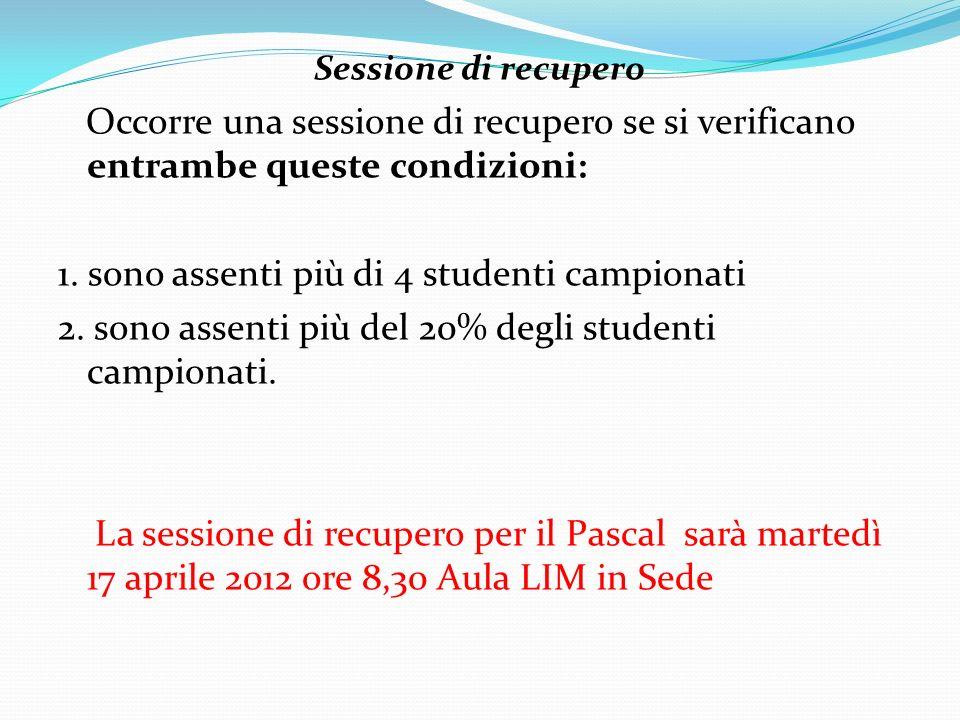 Sessione di recupero Occorre una sessione di recupero se si verificano entrambe queste condizioni: 1. sono assenti più di 4 studenti campionati 2. son