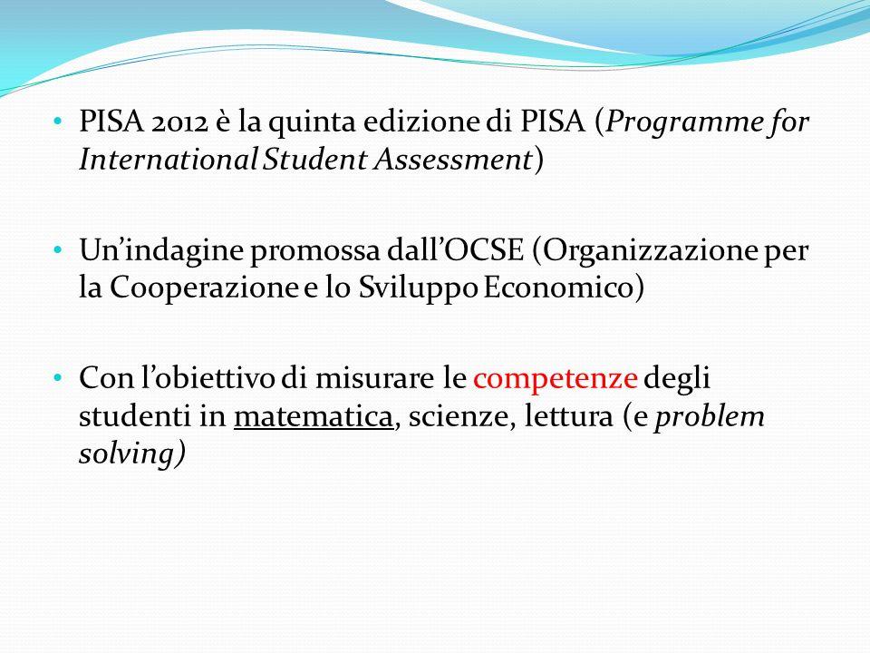 PISA 2012 è la quinta edizione di PISA (Programme for International Student Assessment) Unindagine promossa dallOCSE (Organizzazione per la Cooperazio