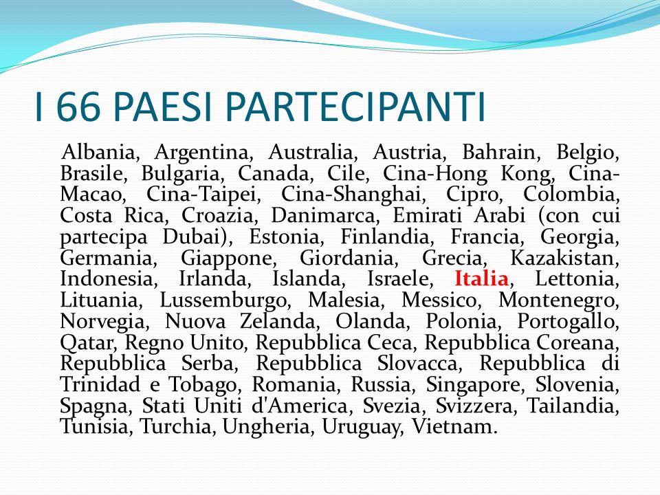 I 66 PAESI PARTECIPANTI Albania, Argentina, Australia, Austria, Bahrain, Belgio, Brasile, Bulgaria, Canada, Cile, Cina-Hong Kong, Cina- Macao, Cina-Ta