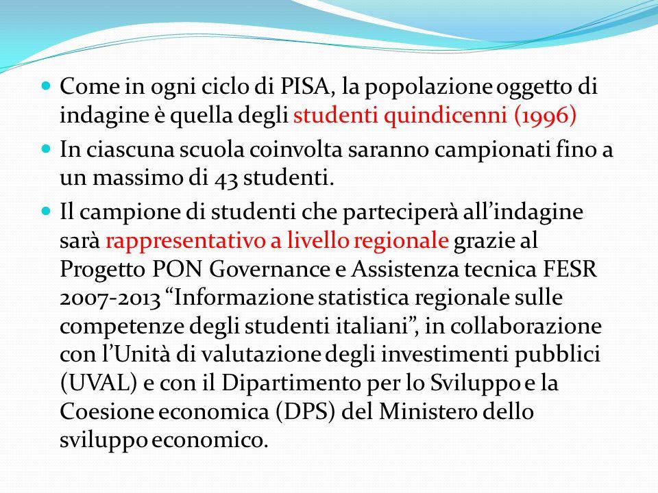 Come in ogni ciclo di PISA, la popolazione oggetto di indagine è quella degli studenti quindicenni (1996) In ciascuna scuola coinvolta saranno campion