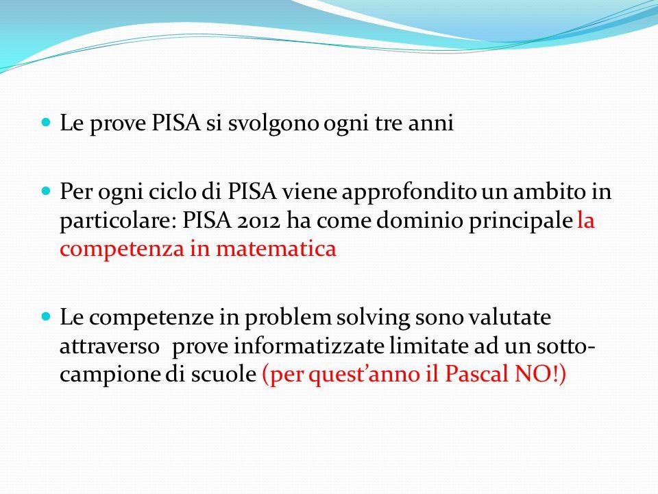 Le prove PISA si svolgono ogni tre anni Per ogni ciclo di PISA viene approfondito un ambito in particolare: PISA 2012 ha come dominio principale la co