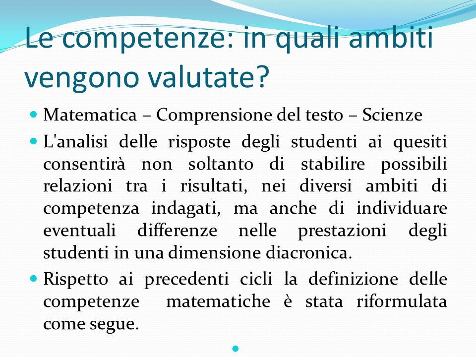 Le competenze: in quali ambiti vengono valutate? Matematica – Comprensione del testo – Scienze L'analisi delle risposte degli studenti ai quesiti cons