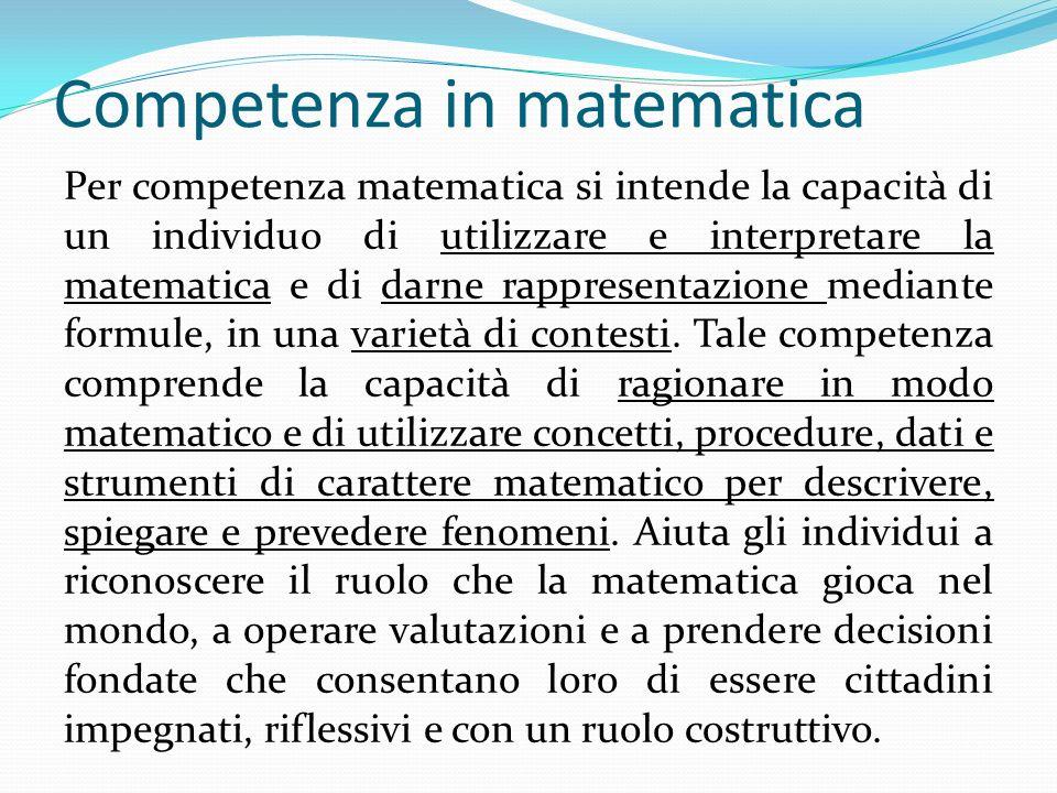 Competenza in matematica Per competenza matematica si intende la capacità di un individuo di utilizzare e interpretare la matematica e di darne rappre