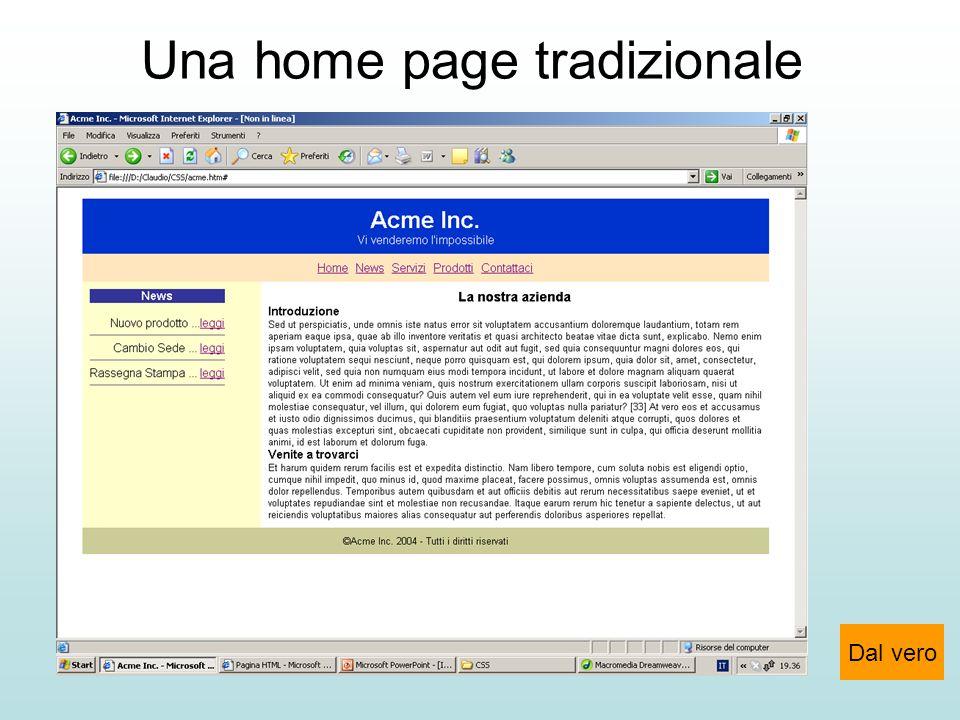 Una home page tradizionale Dal vero