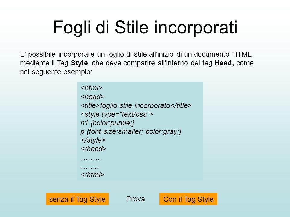 Fogli di Stile incorporati E possibile incorporare un foglio di stile allinizio di un documento HTML mediante il Tag Style, che deve comparire allinte