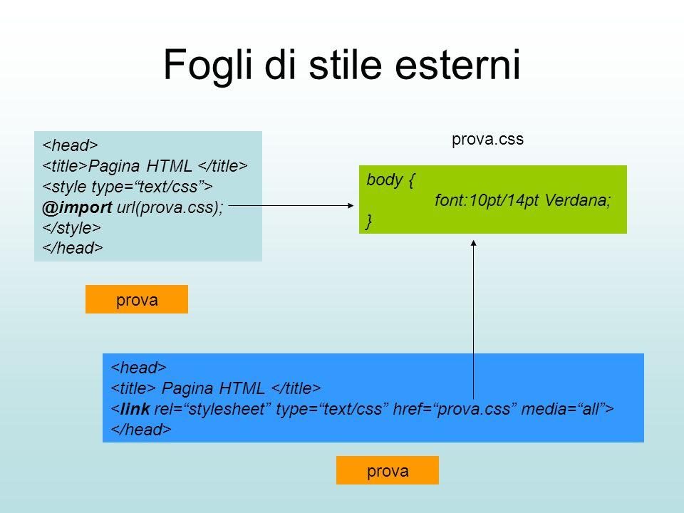 Fogli di stile esterni Pagina HTML @import url(prova.css); Pagina HTML body { font:10pt/14pt Verdana; } prova.css prova