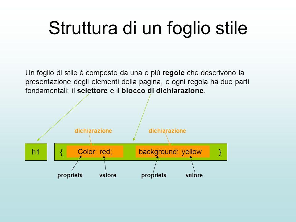 Struttura di un foglio stile Un foglio di stile è composto da una o più regole che descrivono la presentazione degli elementi della pagina, e ogni reg