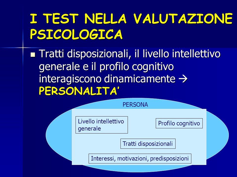 I TEST NELLA VALUTAZIONE PSICOLOGICA Tratti disposizionali, il livello intellettivo generale e il profilo cognitivo interagiscono dinamicamente PERSON