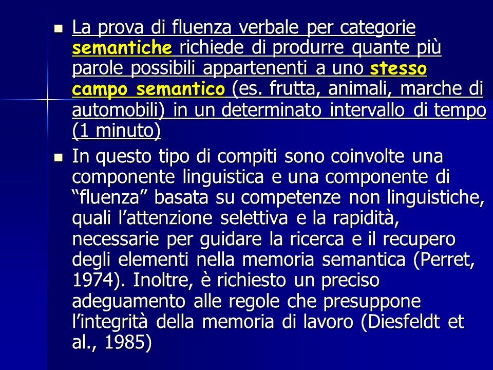 La prova di fluenza verbale per categorie semantiche richiede di produrre quante più parole possibili appartenenti a uno stesso campo semantico (es. f
