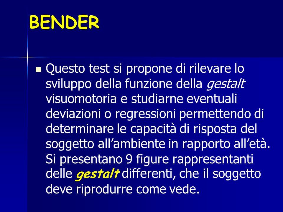 BENDER Questo test si propone di rilevare lo sviluppo della funzione della gestalt visuomotoria e studiarne eventuali deviazioni o regressioni permett