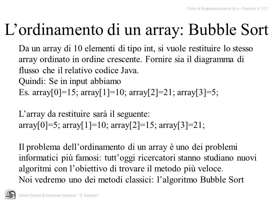 Corso di Programmazione in Java – Esercizio n° 005 Istituto Statale di Istruzione Superiore F. Enriques Da un array di 10 elementi di tipo int, si vuo