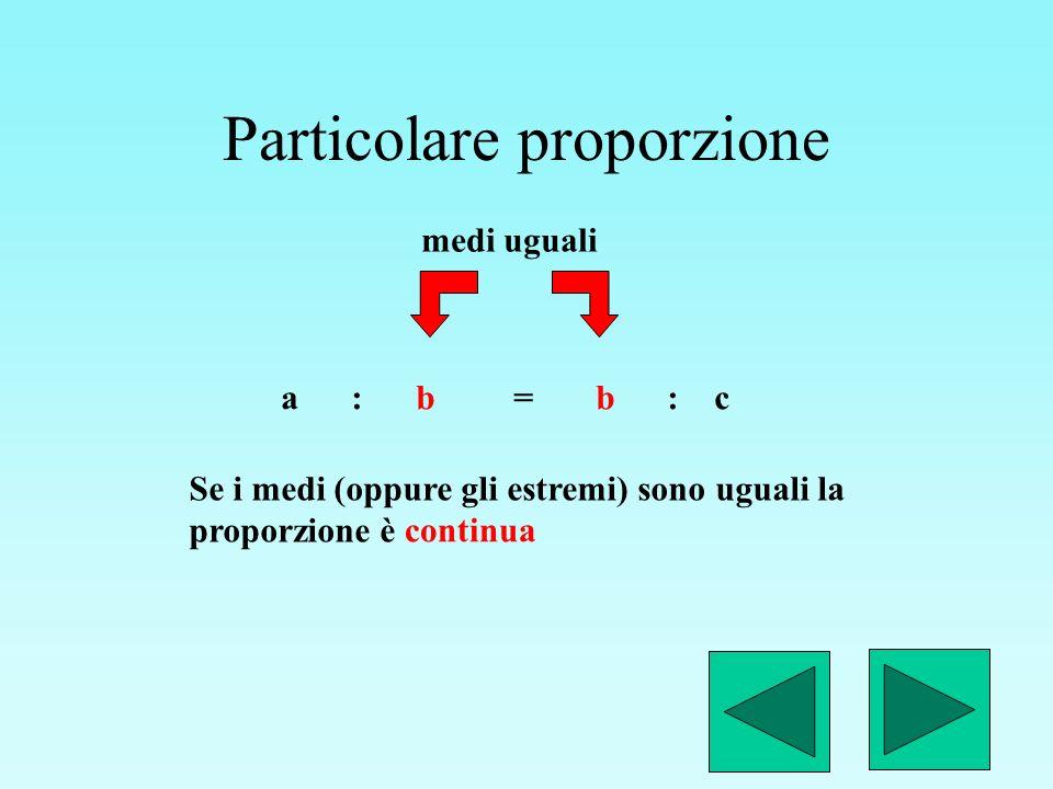 Legge di proporzionalità diretta Se due grandezze sono direttamente proporzionali, il rapporto di due valori della prima è uguale al rapporto di due grandezze della seconda.