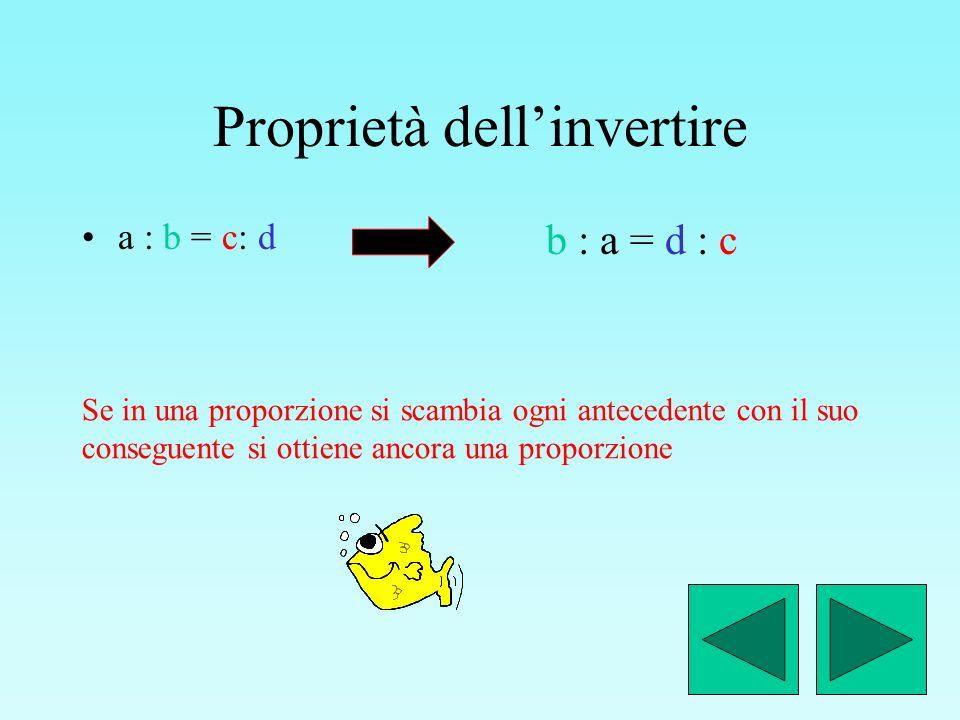 Proprietà del permutare a : b = c : d Se in una proporzione si scambiano tra loro i medi e/o gli estremi si ottiene ancora una proporzione d : b = c : a a : c = b : d