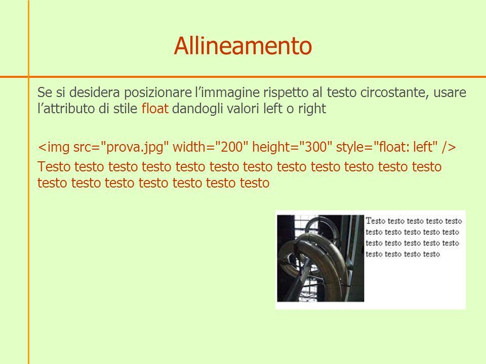 Allineamento Se si desidera posizionare limmagine rispetto al testo circostante, usare lattributo di stile float dandogli valori left o right Testo testo testo testo testo testo testo testo testo testo testo testo testo testo testo testo testo testo testo